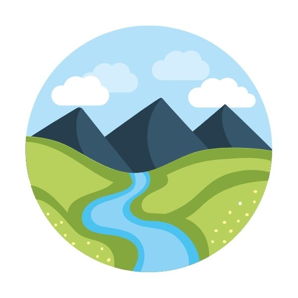 Mountains and River Icon